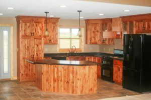 Knotty alder cabinets by Blade Millworks
