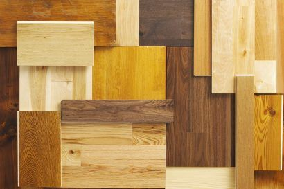 Overhead composition of various wood floor samples.