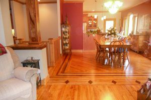 Blade Millworks red birch flooring and dinning room