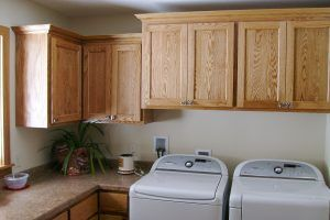 Red oak cabinets by Blade Millworks