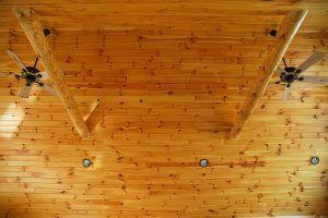 Rustic pine ceiling by Blade Millworks